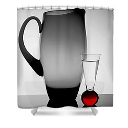 Jug And Shot Glass Shower Curtain by Trena Mara