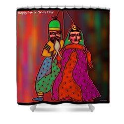 Jugalbandi Shower Curtain by Latha Gokuldas Panicker