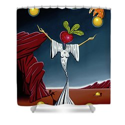 Shower Curtain featuring the painting Juggling Act by Paxton Mobley