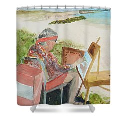 Shower Curtain featuring the painting Julia Painting At Boynton Inlet Beach  by Donna Walsh
