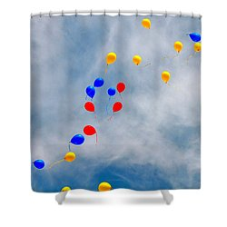 Julian Assange Balloons Shower Curtain