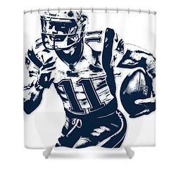 Julian Edelman New England Patriots Pixel Art 2 Shower Curtain