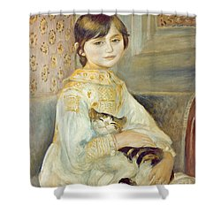 Julie Manet With Cat Shower Curtain by Pierre Auguste Renoir