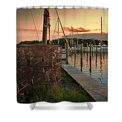 Crab Pots And Sailboats Shower Curtain