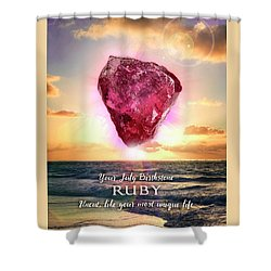 July Birthstone Ruby Shower Curtain