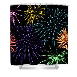 July Fireworks Montage Shower Curtain by Terri Harper