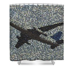 Shower Curtain featuring the mixed media Jumbo Jet Airplane Made Of Cockpit Panel Dials Mosaic by Paul Van Scott