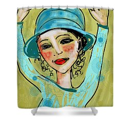 Shower Curtain featuring the digital art Jump For Joy by Elaine Lanoue