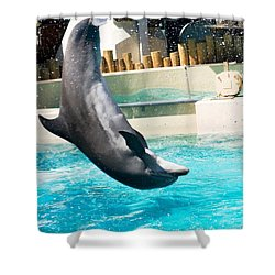 Jumping Dolphin Shower Curtain by Bob Pardue