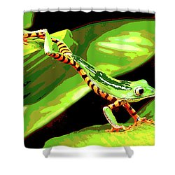 Shower Curtain featuring the mixed media Jumping Frog by Charles Shoup