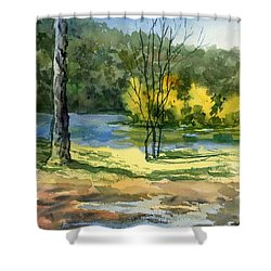 Junction Of White And Spring Rivers Shower Curtain