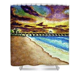 June Beach Pier Florida Seascape Sunrise Painting A1 Shower Curtain