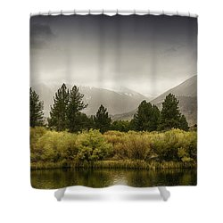 June Lakes Loop In The Autumn Rain Shower Curtain