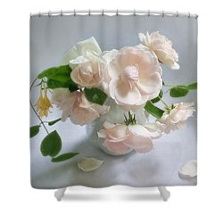 June Roses With Honeysuckle Shower Curtain by Louise Kumpf