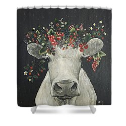 June The Berry Cow Shower Curtain