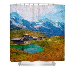 Jungfrau And Pond Shower Curtain by Gerhardt Isringhaus
