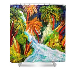 Jungle Falls Shower Curtain by Elizabeth Fontaine-Barr