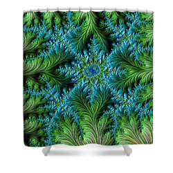 Jungle Meets Sea Fractal Shower Curtain by Dee Flouton