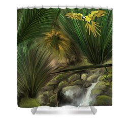 Shower Curtain featuring the digital art Jungle Parrot by Darren Cannell