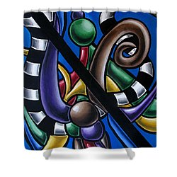 Jungle Stripes 2, Colorful Chromatic Abstract Artwork Shower Curtain