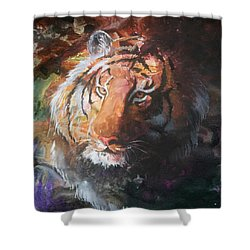 Shower Curtain featuring the painting Jungle Tiger by Sherry Shipley