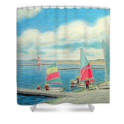 Junior Sailing School, West Kirby Marine Lake Shower Curtain by Peter Farrow