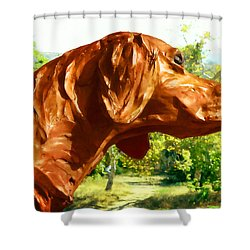 Shower Curtain featuring the photograph Junior's Hunting Dog by Timothy Bulone