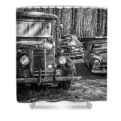 Junked Mack Truck Ad Old Plymouth Shower Curtain