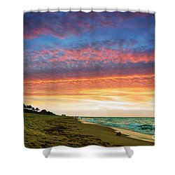 Juno Beach Florida Sunrise Seascape D7 Shower Curtain by Ricardos Creations