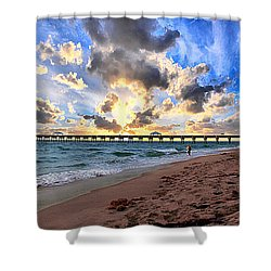 Juno Beach Pier Florida Sunrise Seascape D7 Shower Curtain