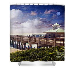Juno Beach Pier Treasure Coast Florida Seascape Dawn C5a Shower Curtain by Ricardos Creations