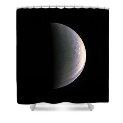 Shower Curtain featuring the photograph Juno Closing In On Jupiter's North Pole by Nasa