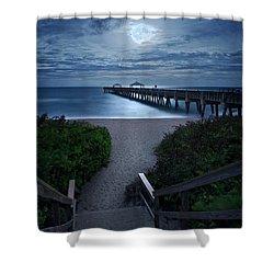 Juno Pier Stairs To Beach Under Full Moon Shower Curtain