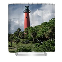 Jupiter Inlet Lighthouse Shower Curtain by Laura Fasulo