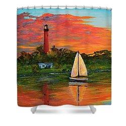 Jupiter Lighthouse Sunrise Alt Shower Curtain