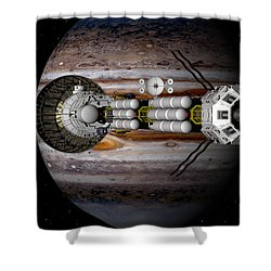 Jupiter Looming Shower Curtain by David Robinson
