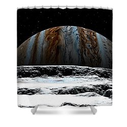 Jupiter Rise At Europa Shower Curtain by David Robinson