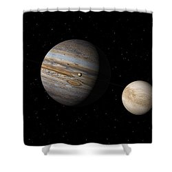 Jupiter With Io And Europa Shower Curtain by David Robinson
