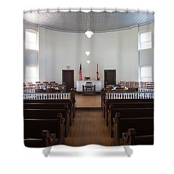 Jury Box In A Courthouse, Old Shower Curtain