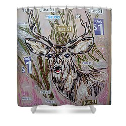 Shower Curtain featuring the painting Just A Buck by Lisa Piper