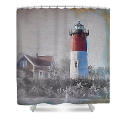 Nauset Lighthouse And Beach Fun Shower Curtain by Jeff Foliage