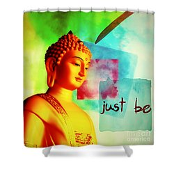 Shower Curtain featuring the mixed media Just Be by Lita Kelley