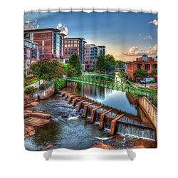 Just Before Sunset 2 Reedy River Falls Park Greenville South Carolina Art Shower Curtain