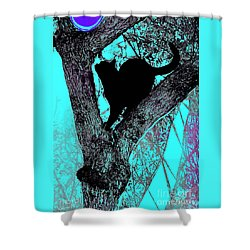 Fauve Cat And Moon Shower Curtain