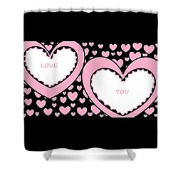 Just Hearts 2 Shower Curtain by Linda Velasquez