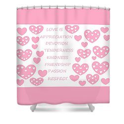 Just Hearts 3 Shower Curtain by Linda Velasquez