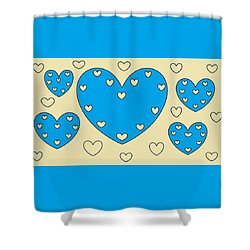 Just Hearts 4 Shower Curtain by Linda Velasquez