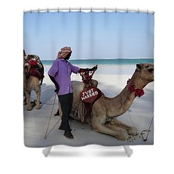 Just Married Camels Kenya Beach 2 Shower Curtain