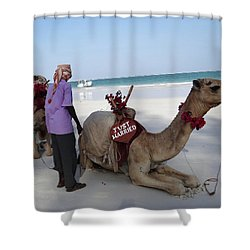 Just Married Camels Kenya Beach Shower Curtain