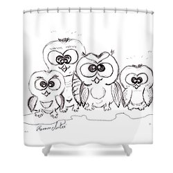 Just The Four Of Us Shower Curtain by Ramona Matei